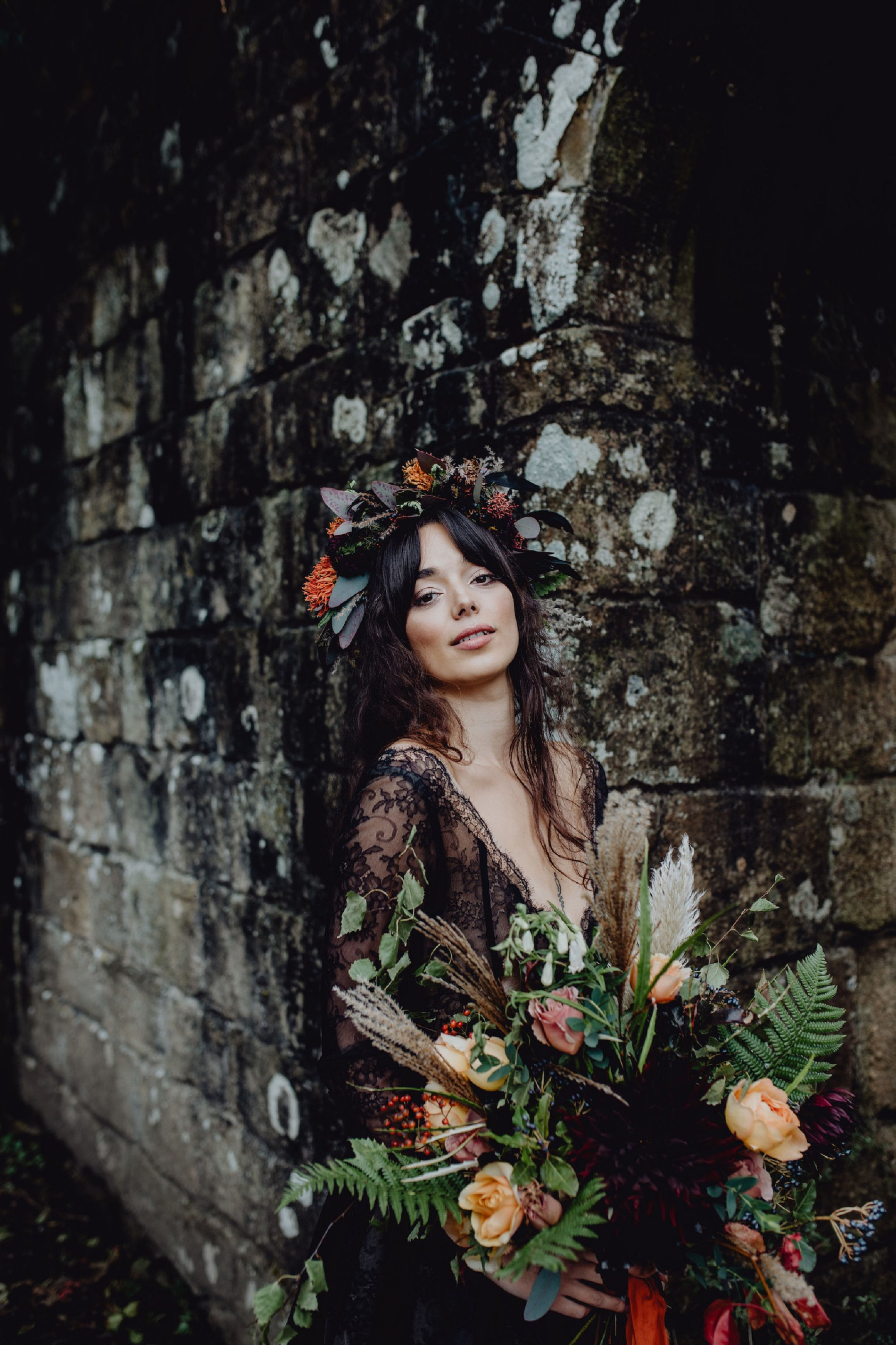 A Dark Romantic Wedding Shoot at Jervaulx Abbey (c) Emilia Kate Photography (30)